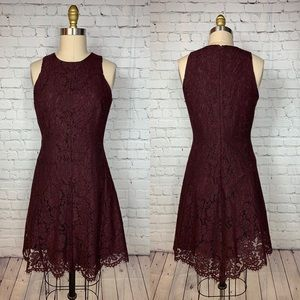 AT Dress A-Line Red Maroon Lace Sleeveless Sheath